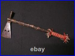 Antique Plains Indian Pipe Tomahawk brain tanned hide and red cloth on shaft