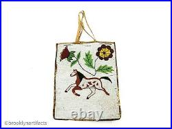 Antique Plateau Indian Beaded Leather Hide Pictorial Horse Bag Native American