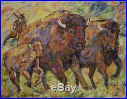 Art Oil Painting Mortensen Landscape Western Indian Native American Buffalo