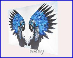 Art Painting INDIAN eagle eye BLUE FEATHER NATIVE AMERICAN signed by artist