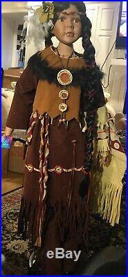Ashley Belle Vintage Fine Porcelain 48 Doll American Indian Stand Named Alaqua