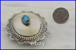 BISBEE Mine Turquoise CONCHO BELT BUCKLE Navajo Indian Sterling Silver Scalloped