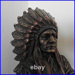 BRONZE NATIVE AMERICAN INDIAN STATUE'PROUD CHIEF' HEAVY 30cm FIGURINE ORNAMENT