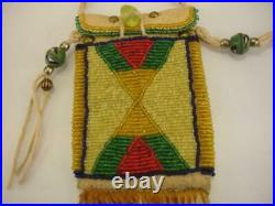 Beaded Native American Crow Indian Medicine Bag Necklace Fringe Leather Beads