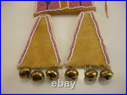 Beaded Native American Crow Indian Medicine Bag Necklace Leather Pink Bells BIG