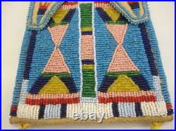 Beaded Native American Crow Indian Medicine Bag Necklace Pouch Leather Bells Big