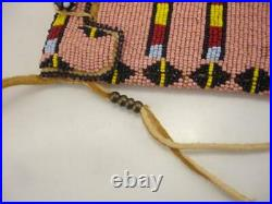 Beaded Native American Crow Indian Medicine Bag Necklace Tanned Leather Pouch