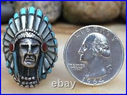 Best Native American Indian Chief Navajo Or Zuni Inlaid Turquoise Coral Ring 12