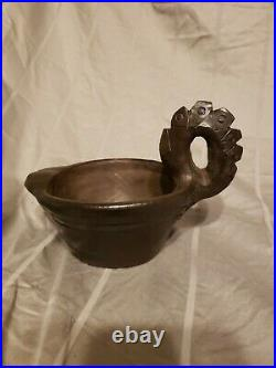 Bigmeat Pottery Cherokee Indian Handled Swan Vase Oil Lamp NC Native American