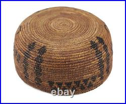 C1850 Native American Indian Coiled Basket Bowl, willow rod foundation