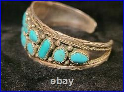 C244 Navajo Handmade Sterling Silver Turquoise Cuff Bracelet -1 wide