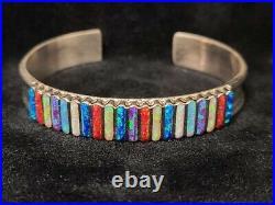 C263 Native American Zuni handmade Sterling silver Opal inlay bracelet cuff
