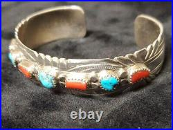 C273 Navajo Handmade Sterling Silver Turquoise Coral 7 Stone Bracelet Cuff