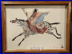 CAROL GRIGG Native American Indian Rare FLYING HORSE Watercolor Print Wood Frame