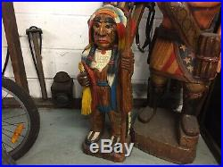 Carved Cigar Store Native American Indian, 2 Foot 7.5 inchesTall