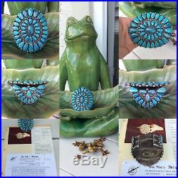 Doris & Warren Ondelacy Zuni Lone Mountain Spider Web Turquoise Cuff Bracelet