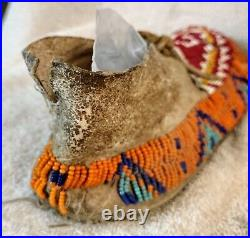 EARLY PLAINS SIOUX INDIAN NATIVE AMERICAN BEADED MOCCASINS BEADS ANTIQUE withsinew