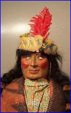 Excellent Antique Large Skookum Native American Indian Doll Pair