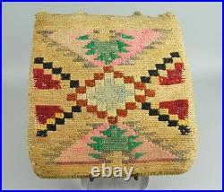 FINE ANTIQUE 19C NATIVE AMERICAN INDIAN NEZ PERCE PLATEAU CORN HUSK BAG Ex. Col