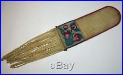 Fine old Native American indian Ojibwe beaded pipe bag