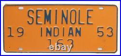 Florida 1953 SEMINOLE INDIAN License Plate, 163, Scarce, Native American Tribal