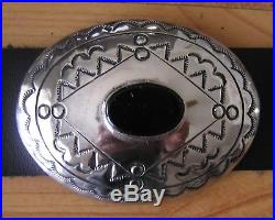 GORGEOUS Navajo Indian handmade Onyx & Nickel Silver Concho Belt. Kayonnie