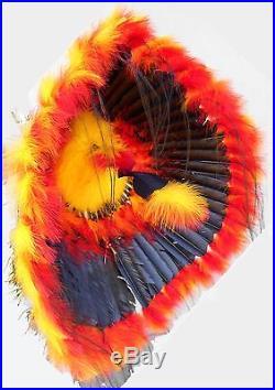 Genuine Native American Navajo 36 Indian Headdress FIREBALL Yellow Red Black