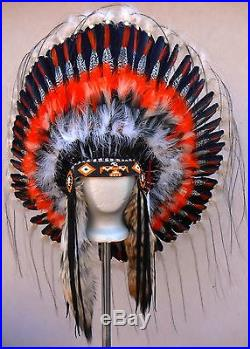 Genuine Native American Navajo Indian Headdress 36 THUNDERBIRD orange black