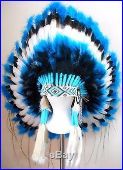 Genuine Native American Navajo Indian Headdress 36 TURQUOISE TRAIL Blue & Black