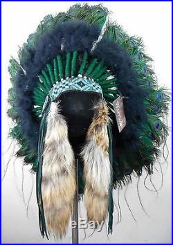 Genuine Native American Navajo Indian Headdress 36 diameter PEACOCK TRADITIONAL