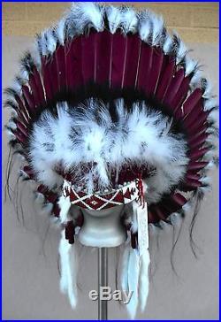 Genuine Native American Navajo Indian Headdress 36 inch SACRED MESA Burgundy