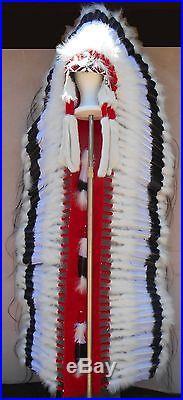 Genuine Native American Navajo Indian Headdress 68 BLACK CLOUD Double Trailer