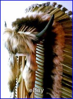 Genuine Native American Navajo Indian Headdress Tatanka BUFFALO HORN 68 Trailer