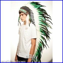 Green Black Feather Native American Indian Headdress Coachella XH006