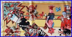 HERMES Kachinas Silk Scarf Kermit Oliver Native American Indian Hopi Rare Doll