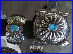 HUGE Nice Navajo Indian Handmade Turquoise & Nickel Silver Concho Belt. Kayonnie