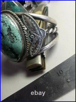 HUGE WOW Pawn RARE NAVAJO STERLING TURQUOISE CUFF #8 turquoise large 142 grm