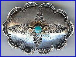Handsome Vintage Navajo Indian Stamped Silver & Turquoise Concho Pin Brooch