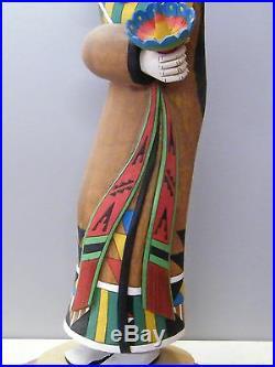 Hopi Sun Girl Kachina Carving John Poleahla Native American Indian Cottonwood