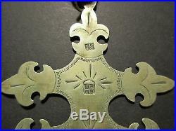 Hudson Bay Silver Cross, Fur Trade Style Native American Indian Gorget Du-00093