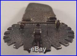 Huge Carol Felley Anglo Native Indian Kachina Sterling Silver Pin Brooch Pendant