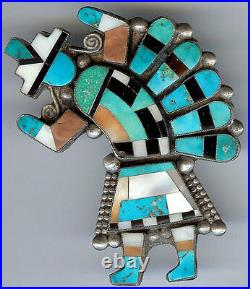 Huge Deluxe Vintage Zuni Indian Sterling Inlaid Coral Turquoise Rainbow Man Pin