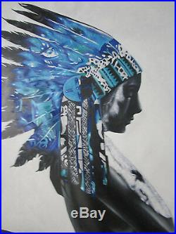 Huge Native American Indian chief Blue Feathers pop art painting By pepe