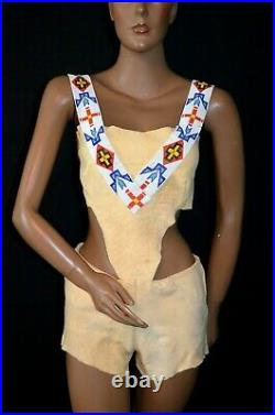 INCREDIBLE VTG 60s 70s Leather Indian Beaded Native American Playsuit Romper S/M