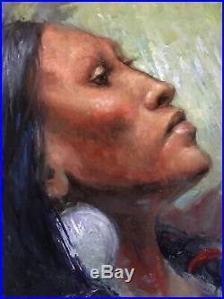 INDIAN Original Oil Painting Western art Southwest Native American woman female