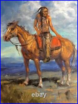 INDIAN Original Oil WESTERN ART COLLECTOR Scottsdale Native American MUSTANG
