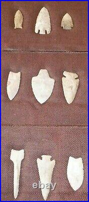 Important ARTIFACT COLLECTION Arrowheads Flint Old Indian Native American
