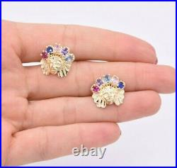 Infantry Native American Indian Rainbow Stud Earrings Real Solid 10K Yellow Gold