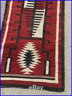 J. B. Moore Native American Indian Navajo Storm Pattern Rug Home Spun Wool