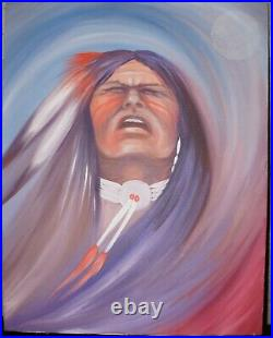 Johnny Tiger Jr Muskogee Creek Seminole Native American Indian Acrylic Painting